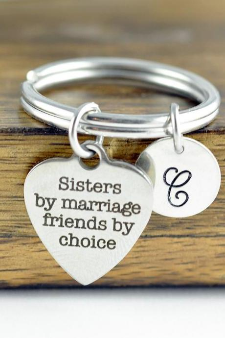 Sisters by Marriage Friends by Choice Keychain, Wedding Keychain, Personalized Keychain, Sister in Law Gift, Engraved Keychain