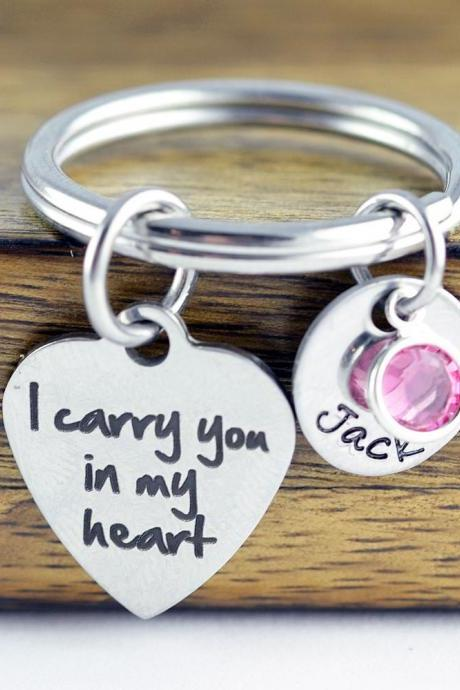 I Carry You In My Heart KeyChain - Personalized Keychain - Engraved Jewelry - Remembrance - Memorial - In Memory - Loss - Loved One - Baby
