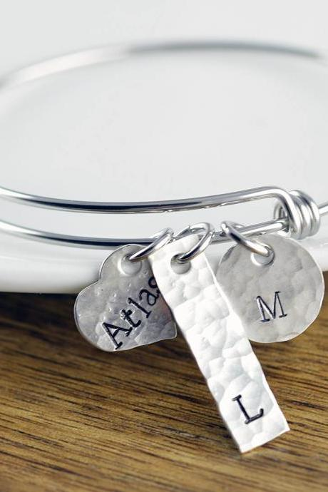 Personalized Bracelet - Silver Bangle Bracelet - Personalized Bracelet - Bangle Bracelet with Charms - Name Bracelet - Mothers Bracelet
