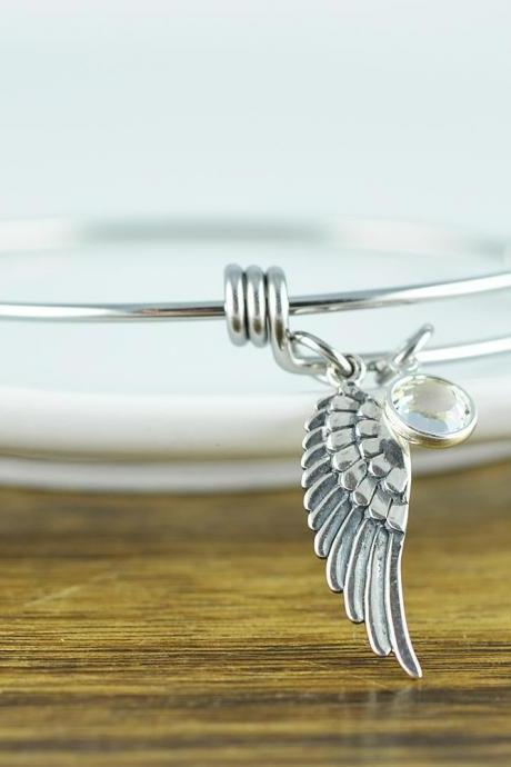 Silver Angel Wing Bracelet, Angel Wing Jewelry, Angel Wing Bangle Bracelet, Memorial Jewelry, Sympathy Gift, Birthstone Bracelet