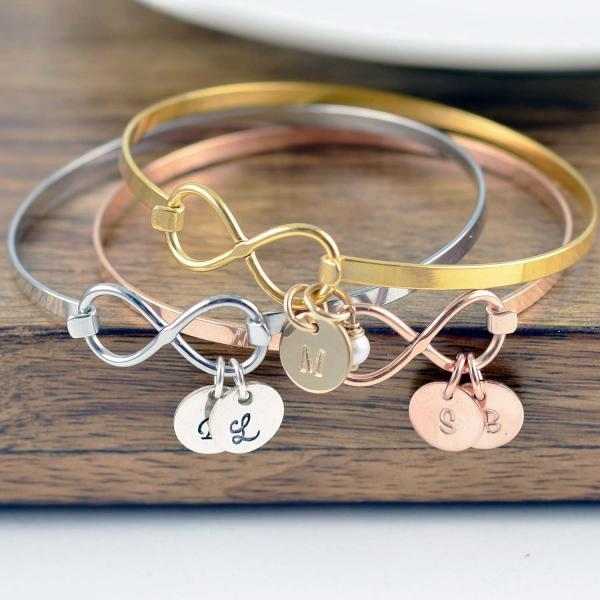 Personalized Mothers Day Bracelet, Infinity Bangle Bracelet, Mother's Day Gift Personalized Infinity Jewelry Personalized gift Handmade Gift