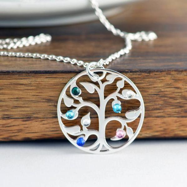 Silver Family Tree Necklace - Mother's Necklace - Birthstone Necklace - Birthstone Jewelry - Grandmother Necklace - Mothers Day Gift