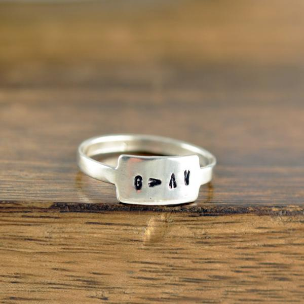 Name Ring, Sterling Silver Ring, Christian Gifts, Inspirational Jewelry, Personalized Ring, Tab Ring, Silver Stacking Rings, Gift for Her