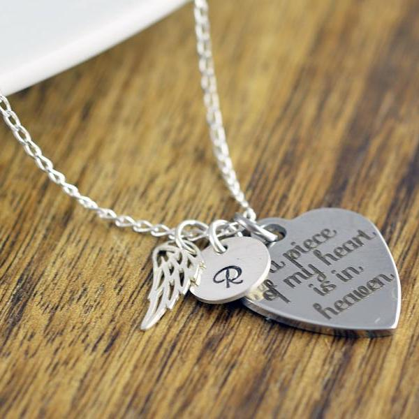 A Piece of My Heart Is In Heaven, Personalized Necklace, Remembrance Jewelry, Remembrance Necklace, Memorial Necklace, Memorial Jewerly