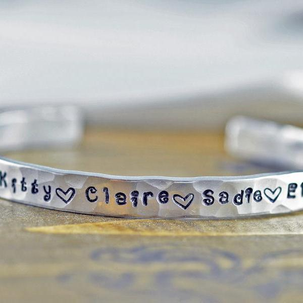 Custom Cuff Bracelet, Personalized Cuff Bracelet, Mothers Bracelet, Mommy Jewelry, Kids Name Bracelet, Christmas Gifts or Her