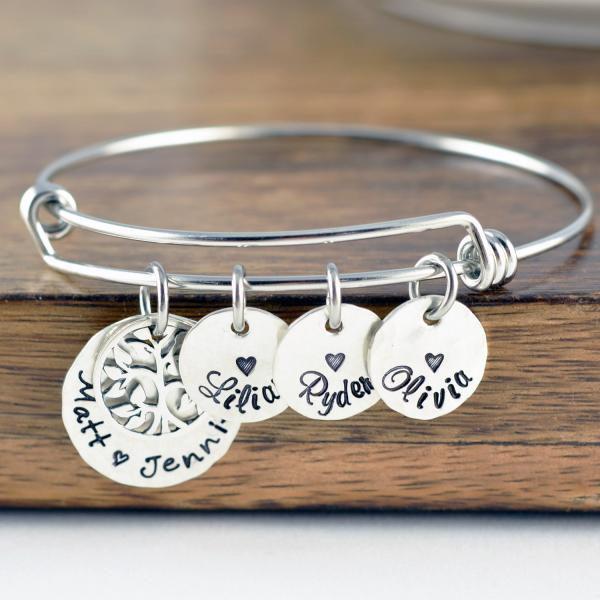 Silver Family Tree Bracelet, Family Bracelet, Grandma Gift, Grandma Bracelet, Grandmother Jewelry, Mom Gift, Mom Bracelet, Name Bracelet